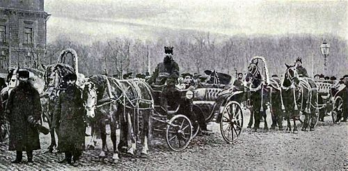 Russian equipagers-two troikas (three horses).jpg