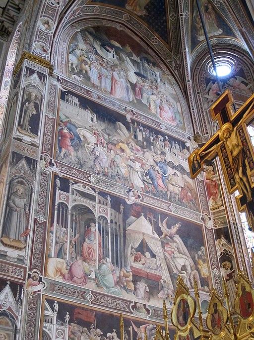 Fresco'ss van Agnolo Gaddi in de Cappella Maggiore, Basilica di Santa Croce, Firenze