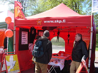 Communist Party of Finland (1994) - A Communist Party of Finland tent during the 2015 World Village Festival.
