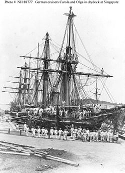 Les Corvettes allemandes   Carola   et   Olga    en cale sèche à Singapour en 1881 : le développement de sa marine de guerre permit à l Empire de réaliser ses ambitions impérialistes.