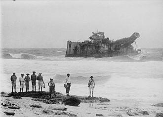 SMS Emden - Emden, beached on North Keeling Island