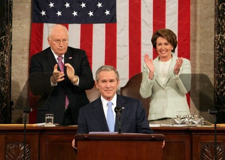 President George W. Bush delivers the 2007 State of the Union Address, with Vice President Dick Cheney and Speaker of the House Nancy Pelosi. SOU2007.jpg