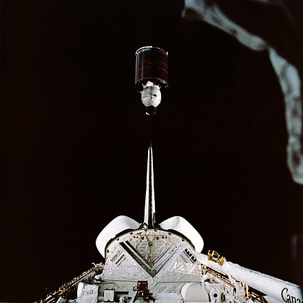 Palapa satellite launch in 1984 STS-41-B Palapa B-2 deployment.jpg