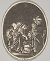 Salome receiving the head of John the Baptist, surrounded by three men and a child bearing a torch, the Baptist's body lies on the ground, an oval composition MET DP828347.jpg