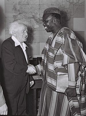 Samuel Akintola - Samuel Akíntọ́lá with David Ben-Gurion during a visit to Israel in 1961
