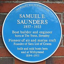 Photo of Samuel E. Saunders blue plaque