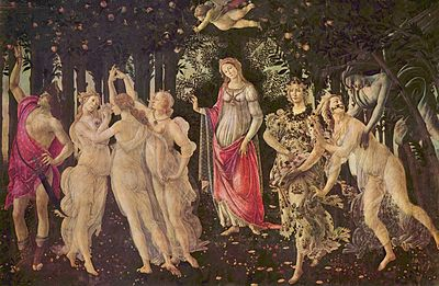 Primavera (1478): icon of the springtime renewal of the Florentine Renaissance, also at the summer palazzo of Pierfrancesco de' Medici, as a companion piece to the Birth of Venus and Pallas and the Centaur. Left to right: Mercury, the Three Graces, Venus, Flora, Chloris, Zephyrus.