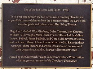 San Remo Cafe - On July 29, 2013, the Greenwich Village Society for Historic Preservation unveiled this plaque at 93 MacDougal Street in the South Village.