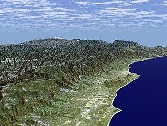 Santa Barbara County, California - Coast of Santa Barbara and rugged back country. Courtesy: NASA Earth Explorer.