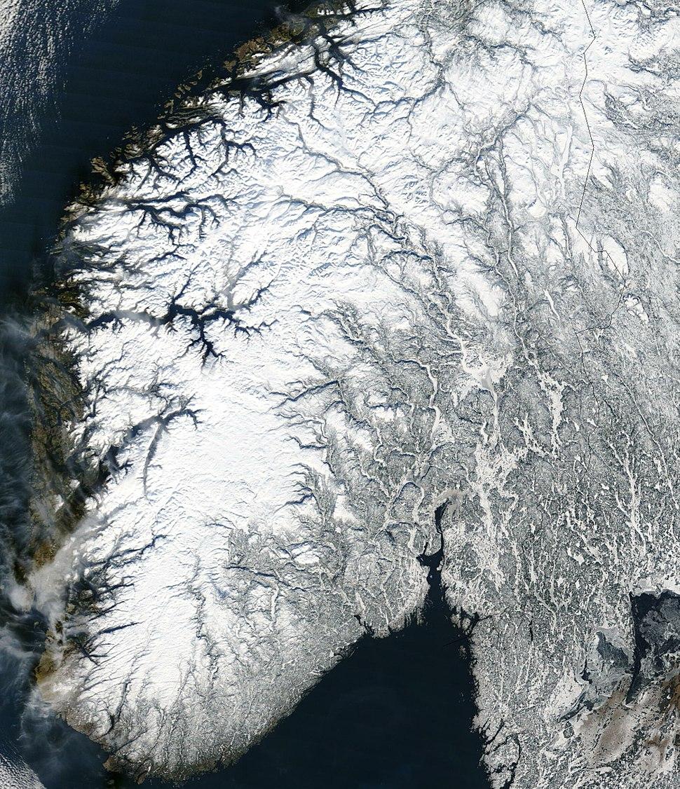 Satellite image of Norway in February 2003 crop