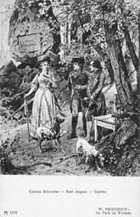 Engraving depicting Karl August walking with Corona Schröter and Johann Wolfgang von Goethe. (Source: Wikimedia)