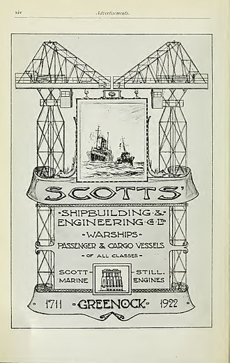 Scotts Shipbuilding and Engineering Company - Scotts Shipbuilding advertisement in Brassey's Naval Annual