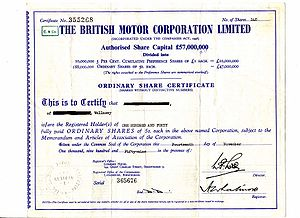 British Motor Corporation - A BMC share certificate
