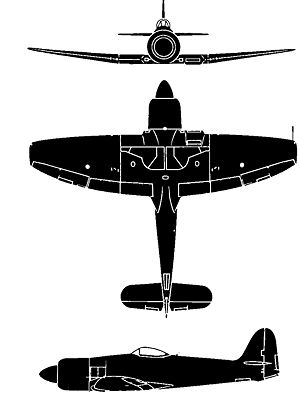 Orthographically projected diagram of the Sea Fury FB.11