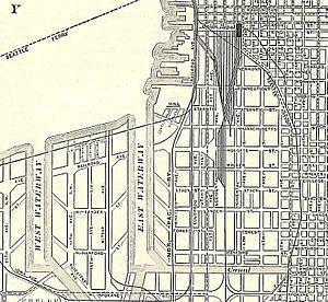 Eugene Semple - This detail from a 1911 map shows the city's Industrial District (after the construction of Harbor Island). A portion of Semple's attempted canal can be seen at lower right, running east-west; north of that can be seen the large city blocks that characterize the former tidelands.