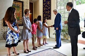 Richard Verma - Secretary of State John Kerry greets members of Verma's family in New Delhi.