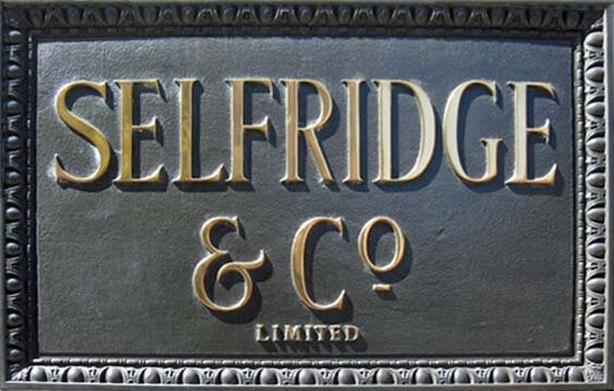 Selfridges nameboard