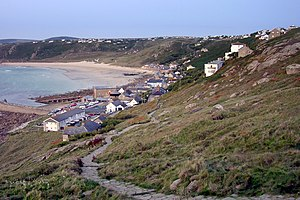 Sennen Cove at dusk, from the cliffs of Pedn-m...