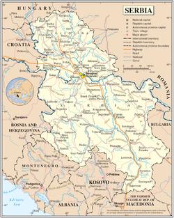 Serbiens udstrækning uden Kosovo