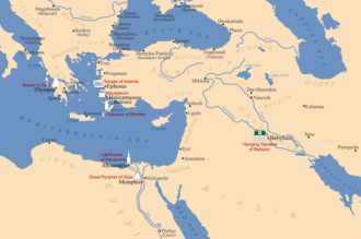 Seven Wonders of the Ancient World - A map showing the locations of the seven wonders of the ancient world