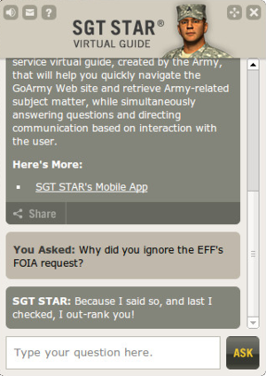 Embodied agent - Sgt. Star, the U.S. Army's online assistant.