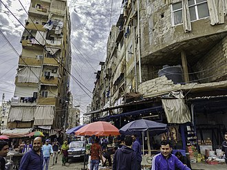 Over 20,000 Syrian and Palestinian refugees live in the Shatila refugee camp on the outskirts of Beirut. Shatila - street view (1).jpg