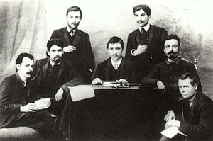 Stepan Shaumian - Shahumian and Dzhaparidze in 1908 (Shahumian second from left, Dzhaparidze first from right)
