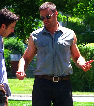 Real Steel - Director Levy on set with Jackman in July 2010