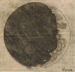 Duhem–Quine thesis - Galileo's sketch of mountains on the sickle moon, as published in Sidereus Nuncius