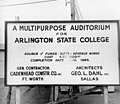 Sign showing construction of Arlington State College auditorium (Texas Hall) (10008780).jpg