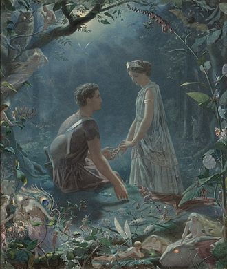Illustrator - A watercolor, by John Simmons, depicting Hermia and Lysander, from  A Midsummer Night's Dream (1870)