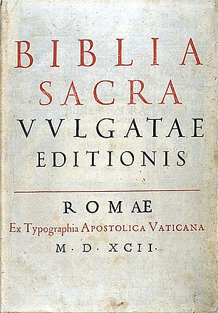 Title page of the Sixto-Clementine Vulgate (1592) Sixto-Clementine Vulgate (1592).jpg