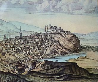 Nor Loch - Edinburgh Castle with the Nor Loch in the foreground, c.1690. Part of an engraving by John Slezer