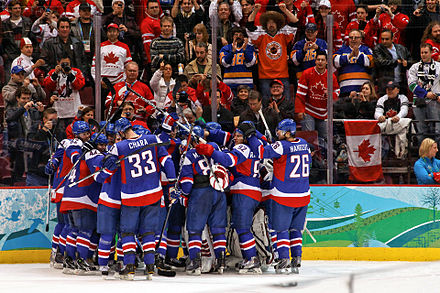 The Slovak national ice hockey team celebrating a victory against Sweden at the 2010 Winter Olympics Slovakia2010WinterOlympicscelebration2.jpg
