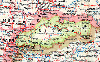 Slovak Republic (1939–1945) - German map of the First Slovak Republic in 1943