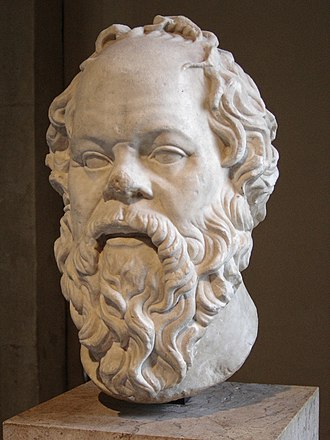 Atheism - In Plato's Apology, Socrates (pictured) was accused by Meletus of not believing in the gods.