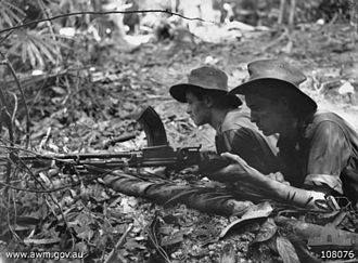 Jungle division - Soldiers from the 2/23rd Battalion during the attack on Freda feature on Tarakan 1945.