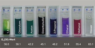 Solvatochromism - Reichardt's dye dissolved in different solvents
