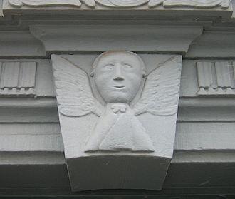 George Rapp - Virgin Sophia design on doorway in Harmony, Pennsylvania, carved by Frederick Reichert Rapp (1775-1834).
