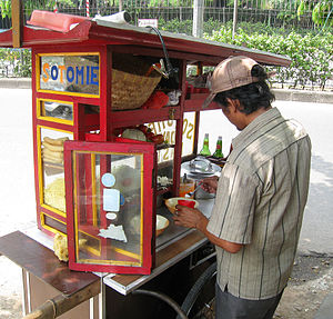 Street food of Indonesia - Soto mie cart street vendor