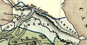 Caucasian Albania - Old map showing Colchis, Iberia and Albania