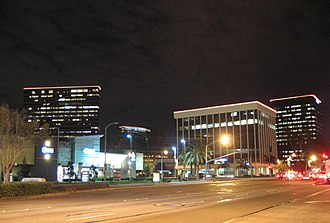 South Coast Metro - South Coast Metro area at night, looking southeast