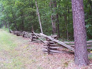 George Washington and Jefferson National Forests - A split rail fence at the entrance to Sherando Lake