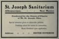 """St. Joseph Sanitarium (""""American medical directory"""", 1906 advert).png"""