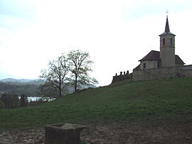View of the church of Saint-Alban-de-Montbel next to the Lac d'Aiguebelette