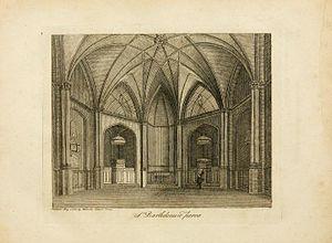 James Peller Malcolm - Interior of St Bartholomew-the-Less, from Londinium Redivivum vol. 1, 1802.