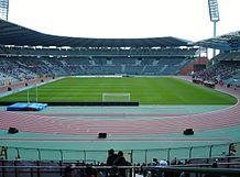 Stadioninnenraum, fotografiert von der Tribüne
