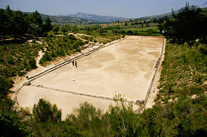 Stadion (running race) - The stadion of ancient Nemea, Greece.