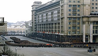 Death and state funeral of Joseph Stalin - Image: Stalin's funeral procession entering Manezhnaya Square from Okhotny Ryad