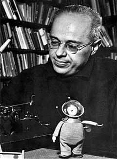 Stanisław Lem and toy cosmonaut in 1966